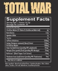 redcon1 total war pre workout supplement facts